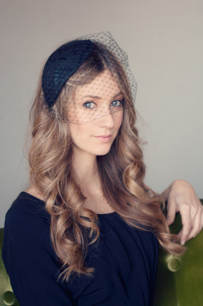 Black lace and birdcage veil mini hat adornment  style # 104