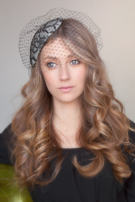 Grey and black lace bird cage veil mini hat style # 109