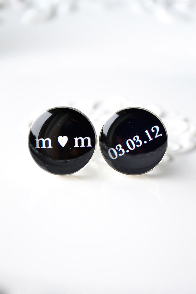 Custom Initial and Heart with Date Cufflinks