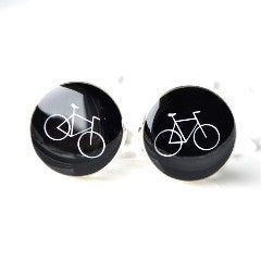 Bike Cufflinks - White On Black