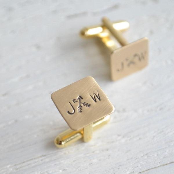 Custom Cross Arrows and Initial Stamped Cufflinks