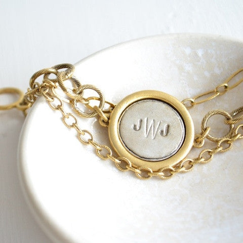 Monogram Triple Chain Bracelet