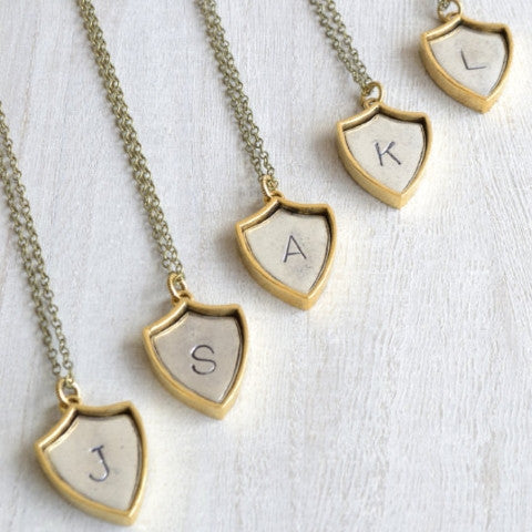PERSONALIZED INITIAL SHIELD NECKLACE