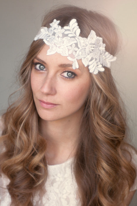 Floral Lace and Pearl Headband