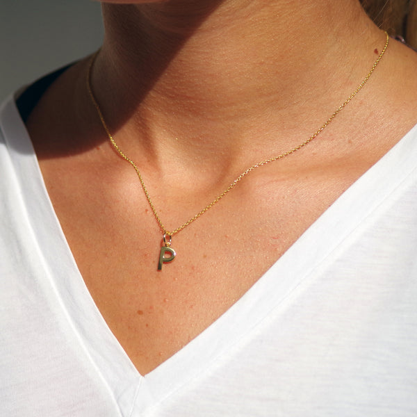 Gold Initial E Pendant Necklace