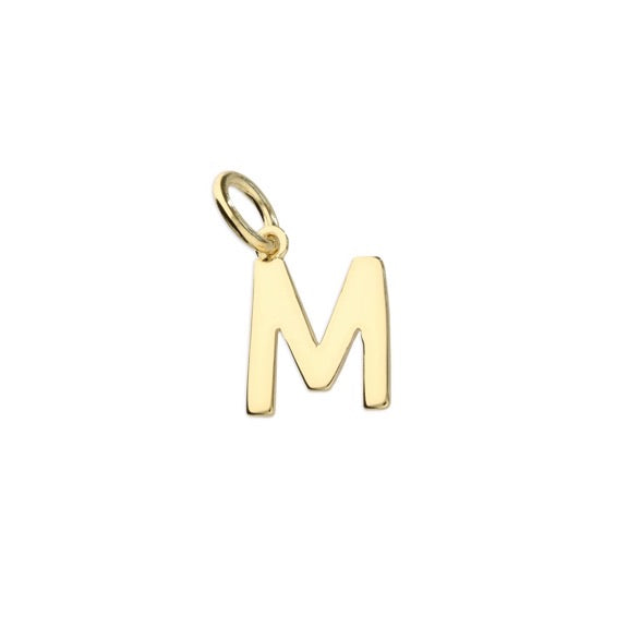 Gold Initial M Pendant Necklace