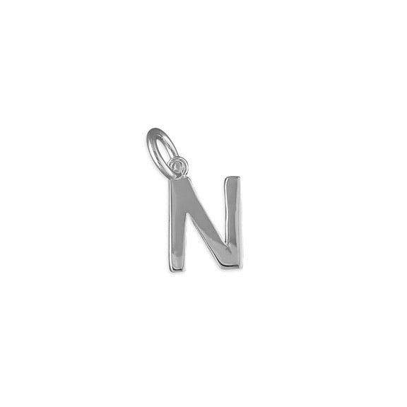 Silver Initial N Pendant Necklace