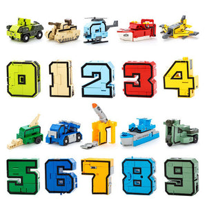 10Pcs LegoINGs City DIY Creative Building Blocks Sets Figures Transformation Number Robot Deformation Friends Creator Toys Gifts