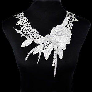 1Pcs White Fine Venise Lace Fabric Dress Applique Blouse Sewing Trims DIY Neckline Collar Costume Decoration Accessories