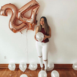 1pc 40 inch rose Gold Silver Aluminium Foil Number Balloons 0-9 Birthday Wedding Engagement Party Decor Globo Kids Ball Supplies 1