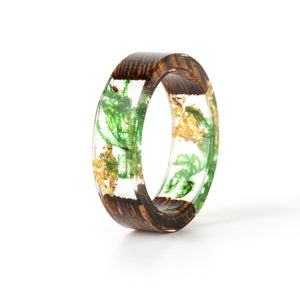 2018 New Design Handmade Wood Resin Ring Flowers Plants Inside Jewelry New Novelty Wood Ring Anniversary Ring