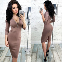 Autumn Winter Women Elegant Dress 2018 New Fashion 3/4 Sleeve Work Business Sheath Bodycon Zipper Red Blue Dress Vestidos