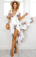 Boho Beach White Summer Long Dress Women's Clothing White Flower Printed Dress Sexy V Neck Split Fit Flare Party Dresses Vestido