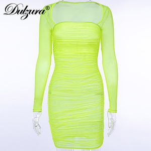 Dulzura women party dress sexy see through bodycon smocking elegant 2018 autumn winter mesh festival Christmas clothes
