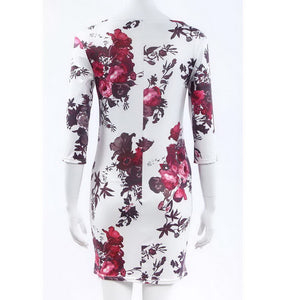 Elegant Floral Printed Women Summer Dress 2018 Half Sleeve Empire Casual vestido Skinny Bodycon Mini Party Pencil Dress Women