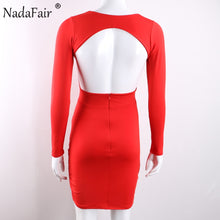 Nadafair Deep V Neck Backless Skinny Sexy Bodycon Dresses Women Long Sleeve Mini Party Club Autumn Winter Dresses Red Black