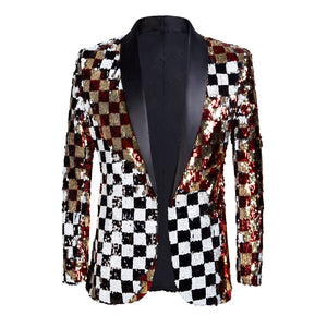 PYJTRL Brand New Men Double-sided Colorful Plaid Red Gold White Black Sequins Blazer Design DJ Singer Suit Jacket Fashion Outfit