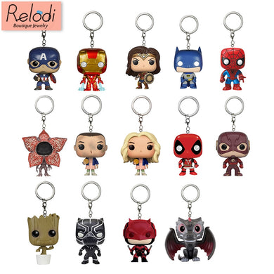 Pop Toys Keychain Marvel Captain America Iron Man Groot Key Ring Kids Wonder Women Key Chain Bag Pendant Jewelry SP1470