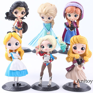 Q Posket Characters Princess Aurora Alice Wonder Woman Harley Quinn Anna Elsa Doll PVC QPosket Princess Anime Figure Toys Dolls
