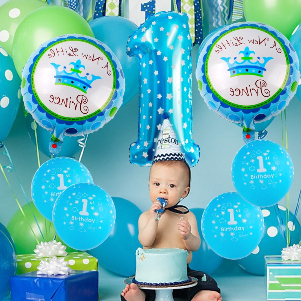 QIFU First Birthday Boy Party Decor Foil Balloons 1st Decorations Kids 1 Year