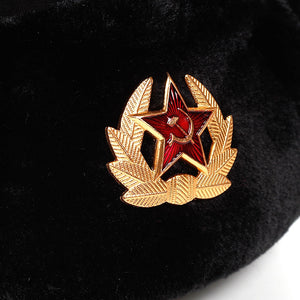 Soviet Army Military Badge Russia Ushanka Bomber Hats Pilot Trapper Aviator Cap Winter Faux Rabbit Fur Earflap Snow Caps hat