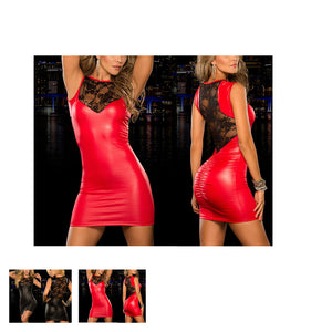Tight-fitting sexy Lace Dress slim Wet Look Fetish Bondage Vinyl red PVC dress Leather Bodycon