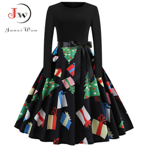 Winter Christmas Dresses Women 50S 60S Vintage Robe Swing Pinup Elegant Party Dress Long Sleeve Casual Plus Size Print Black 1