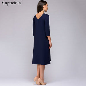 Women 2018 Autumn Solid Color Casual Dress Three Quarter Sleeves Sashes Pockets O-Neck Loose Mid-Calf Dresses Female Vestidos