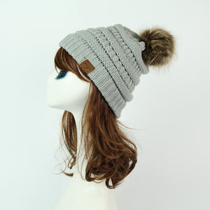 Women Winter Warm hat Beanie CC with Cute Faux Fur Pom Pom Ball knitted cap Skully outdoor  female casual ski caps