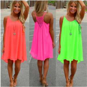 Women beach dress fluorescence female summer dress chiffon voile women dress 2018 summer style women clothing plus size 14 Color