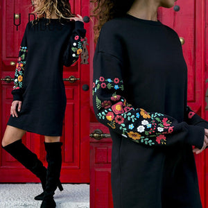Y Nidus Dresses Women Winter Mini Dress Elegant Floral Print Long Sleeve O-Neck Loose Warm Dress Black Streeetwear vestido 2018
