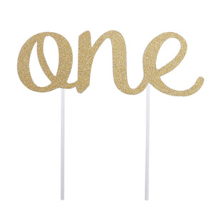 One Side First Birthday Cake Topper One Birthday Cake Decorations Gold Cake Topper Party Supplies (Golden)