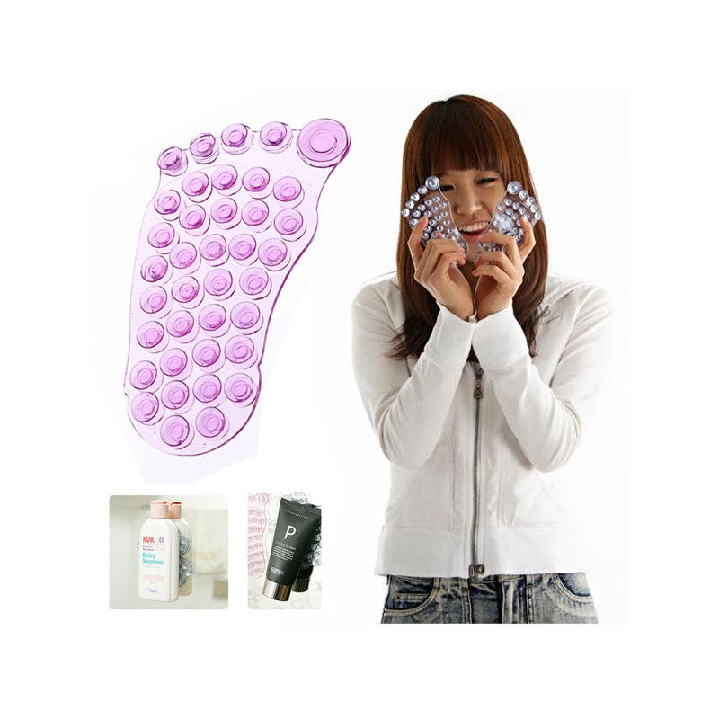 Foot Shaped Anti-slip Air Suction Holder (Translucent Pink)