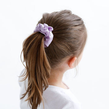 Silk Scrunchies - Lilac + Grey
