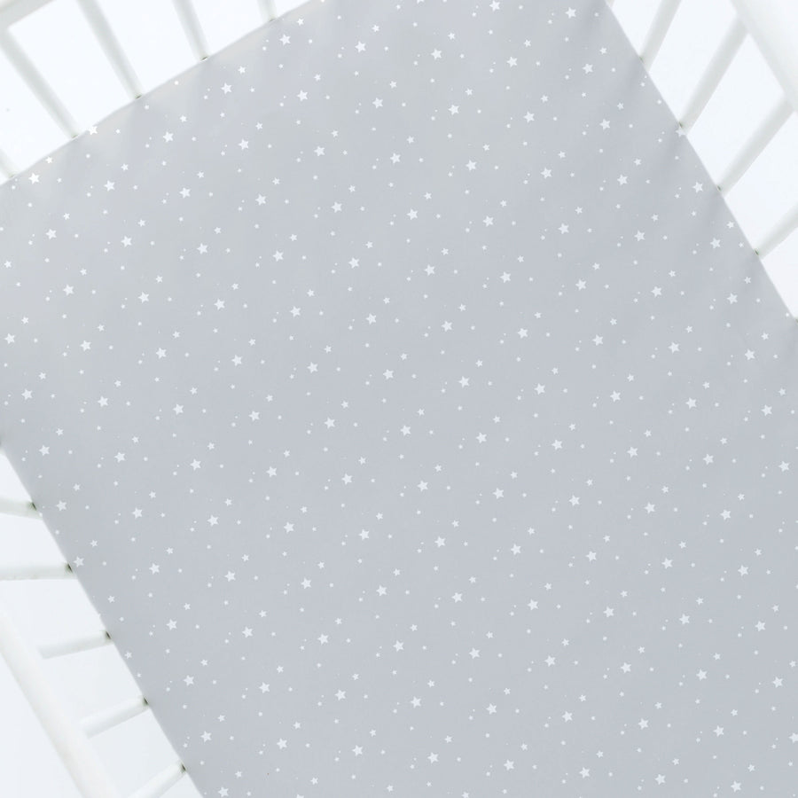 Silk Crib Sheet - White Stars