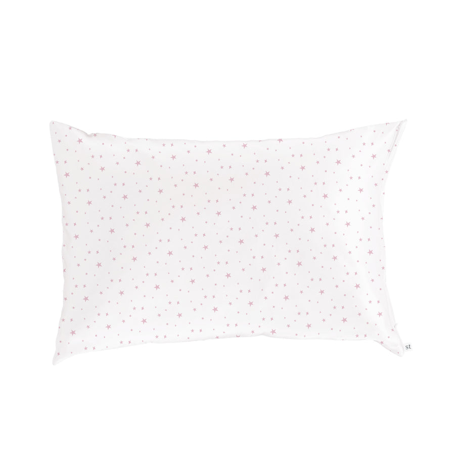 Silk Pillow Slip - Pink Stars