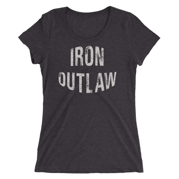 Iron Outlaw Ladies' short sleeve t-shirt (grey print) - The Iron Cowboy