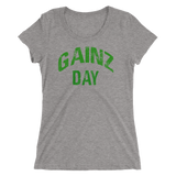Gainz Day Ladies' short sleeve t-shirt (green print) - The Iron Cowboy