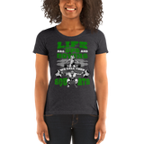 Life Up and Down Ladies' short sleeve t-shirt (green print) - The Iron Cowboy