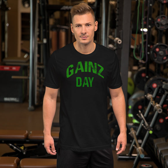 Gainz Day Short-Sleeve Unisex T-Shirt (Green Print)