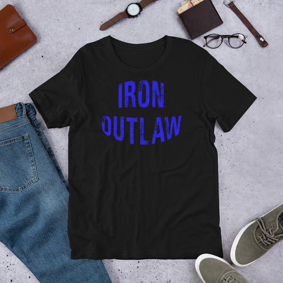 Iron Outlaw Short-Sleeve Unisex T-Shirt (Blue Print) - The Iron Cowboy