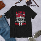 Life Ups and Downs Short-Sleeve Unisex T-Shirt (Red Print) - The Iron Cowboy