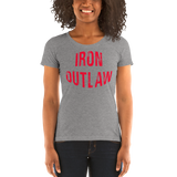 Iron Outlaw Ladies' short sleeve t-shirt (red print) - The Iron Cowboy