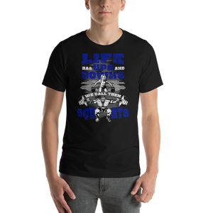 Life Ups and Downs Short-Sleeve Unisex T-Shirt (Blue Print) - The Iron Cowboy