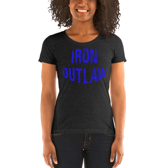 Iron Outlaw Ladies' short sleeve t-shirt (blue print) - The Iron Cowboy