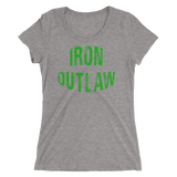 Iron Outlaw Ladies' short sleeve t-shirt (green print) - The Iron Cowboy