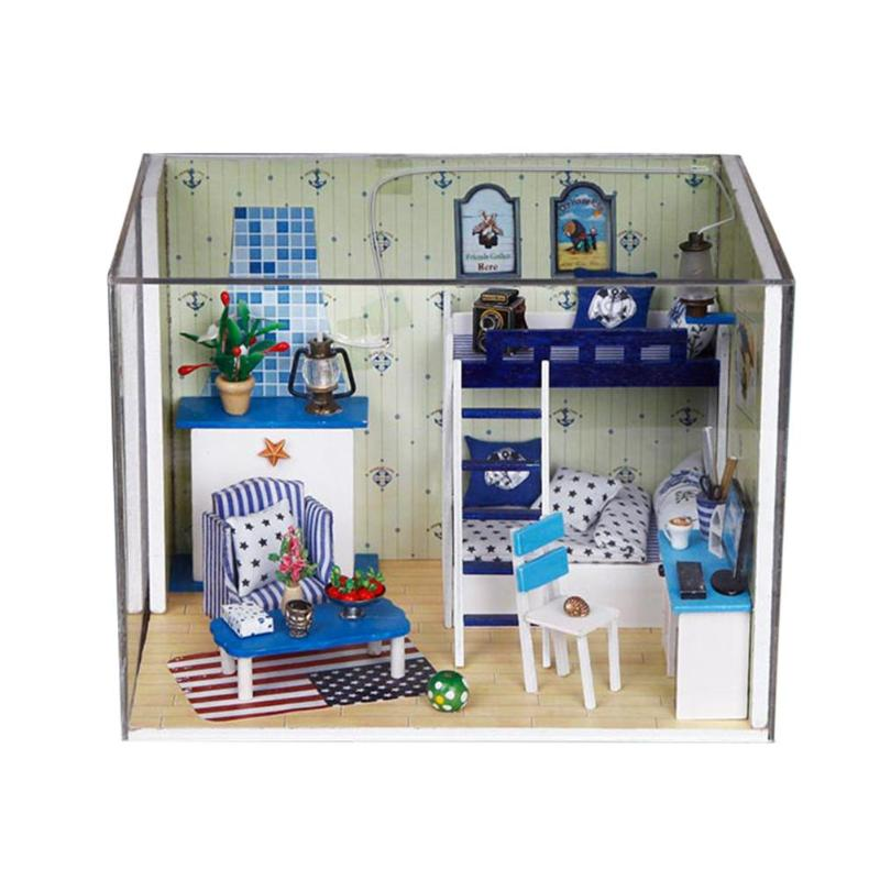 Christmas Dollhouse Decorations.Diy Blue Star Dreamy Doll House Wooden Miniature Dollhouse Furniture Kit Toys For Children Christmas Decorations Birthday Gifts