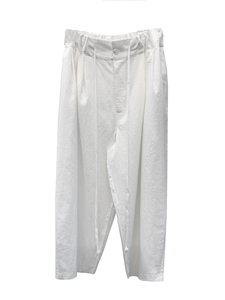 SS21 UNISEX LINEN WHITE WIDE PANTS