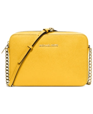17965cdd4c4a MICHAEL Michael Kors Jet Set Large Saffiano Leather Crossbody Yellow ...