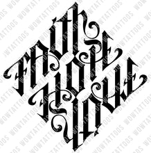 Load image into Gallery viewer, Faith / Hope / Love Diamond Ambigram Tattoo Instant Download (Design + Stencil) - Wow Tattoos